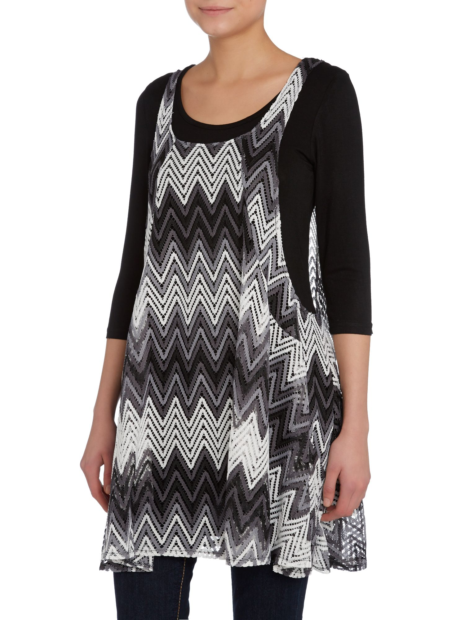 2 in 1 horizontal zigzag top