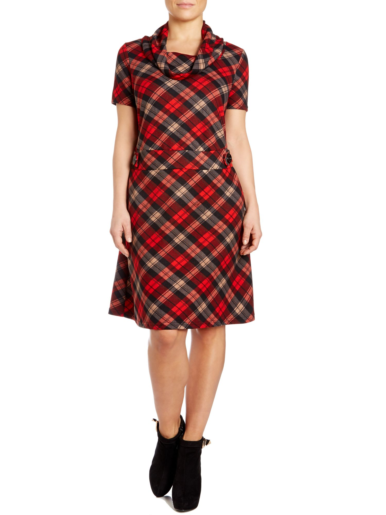 A line tartan dress with cowl neck