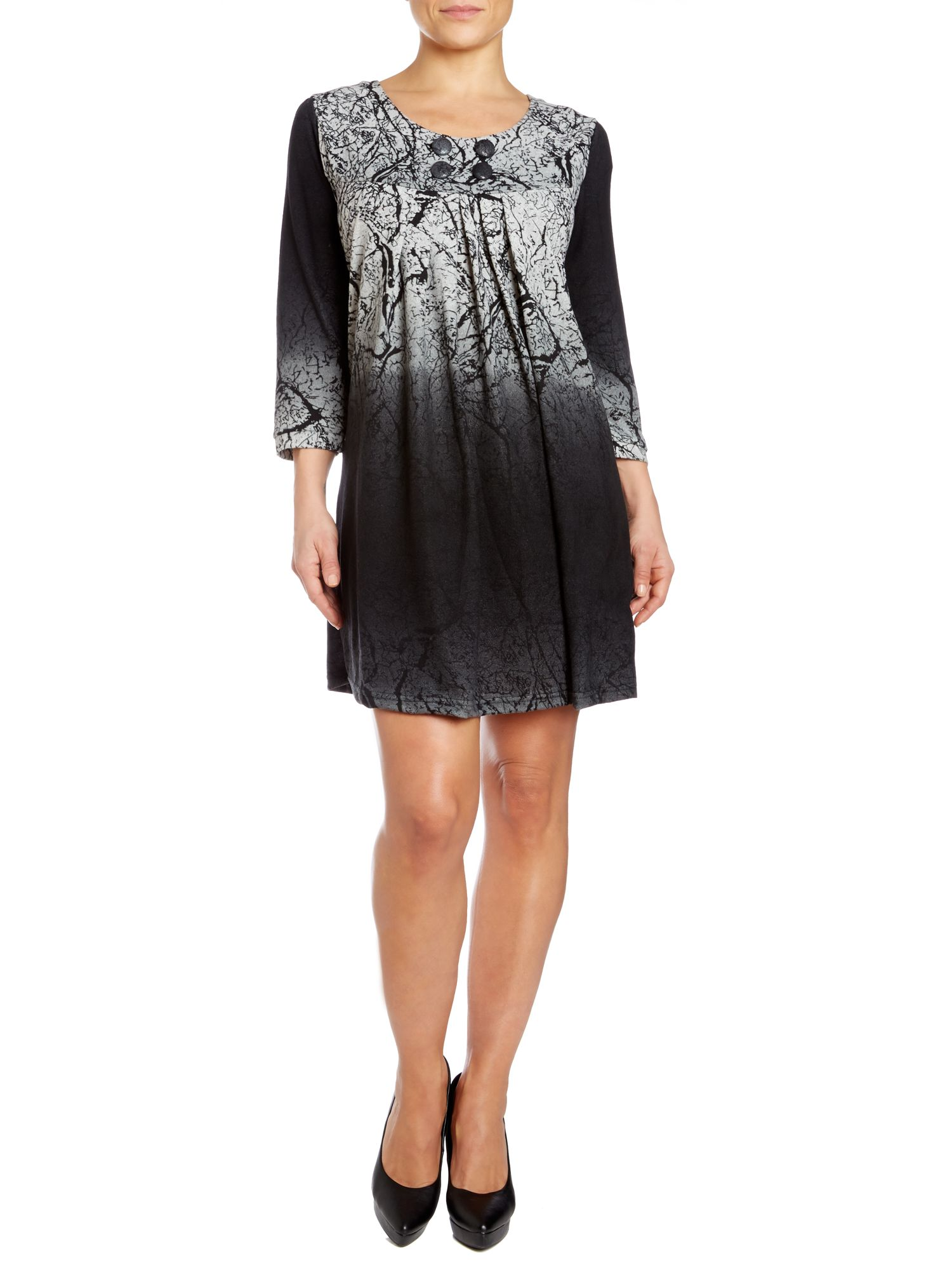 Smock dress in fade out twig print