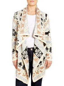 Drape cardigan in rural emblem print