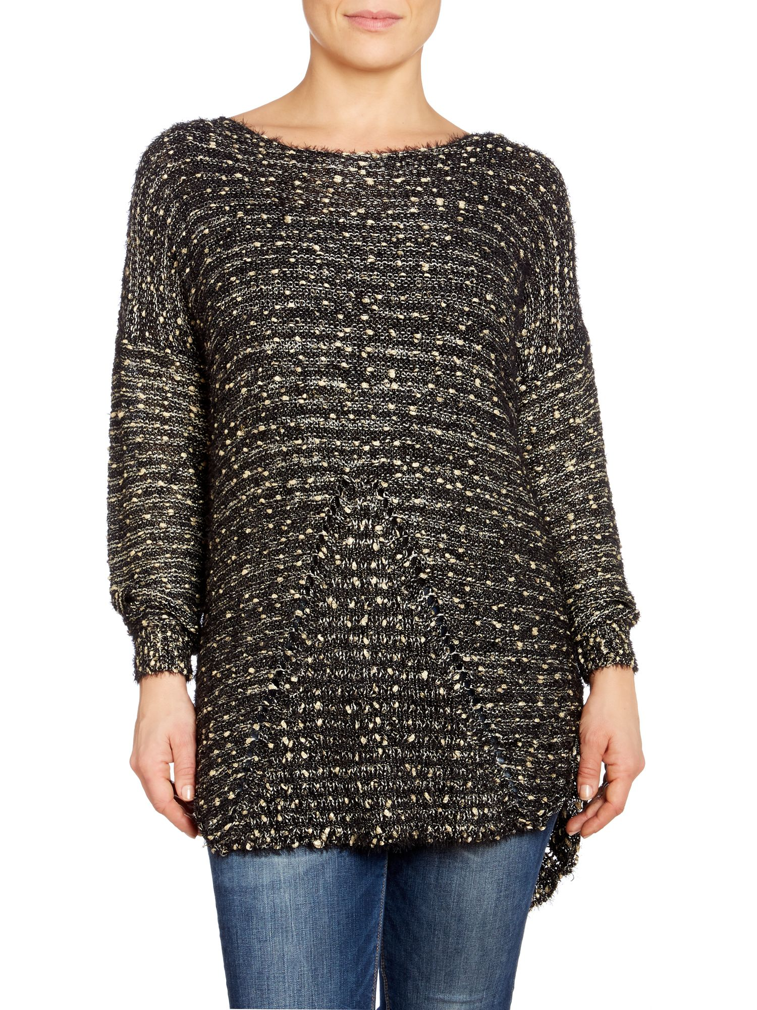 Metallic bouclé fluffy jumper