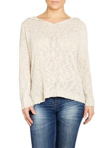 Hooded mix knit top