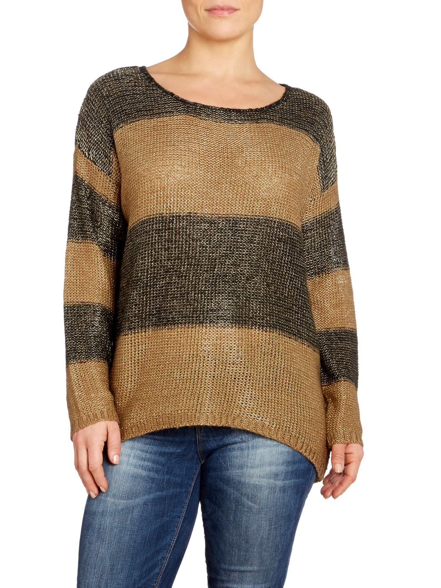 Metallic stripy jumper with dip hem