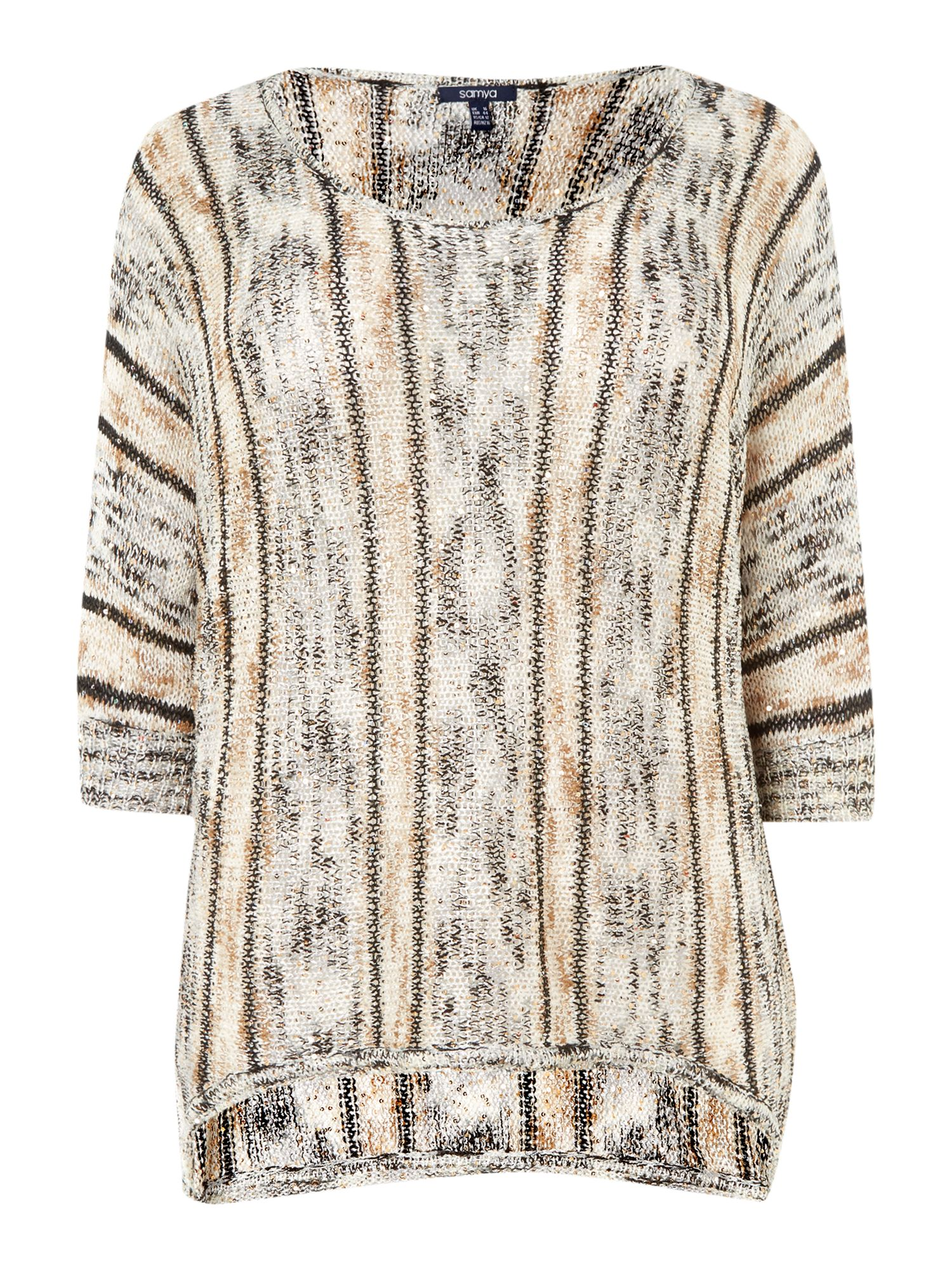 Sequin and stripe dip hem jumper