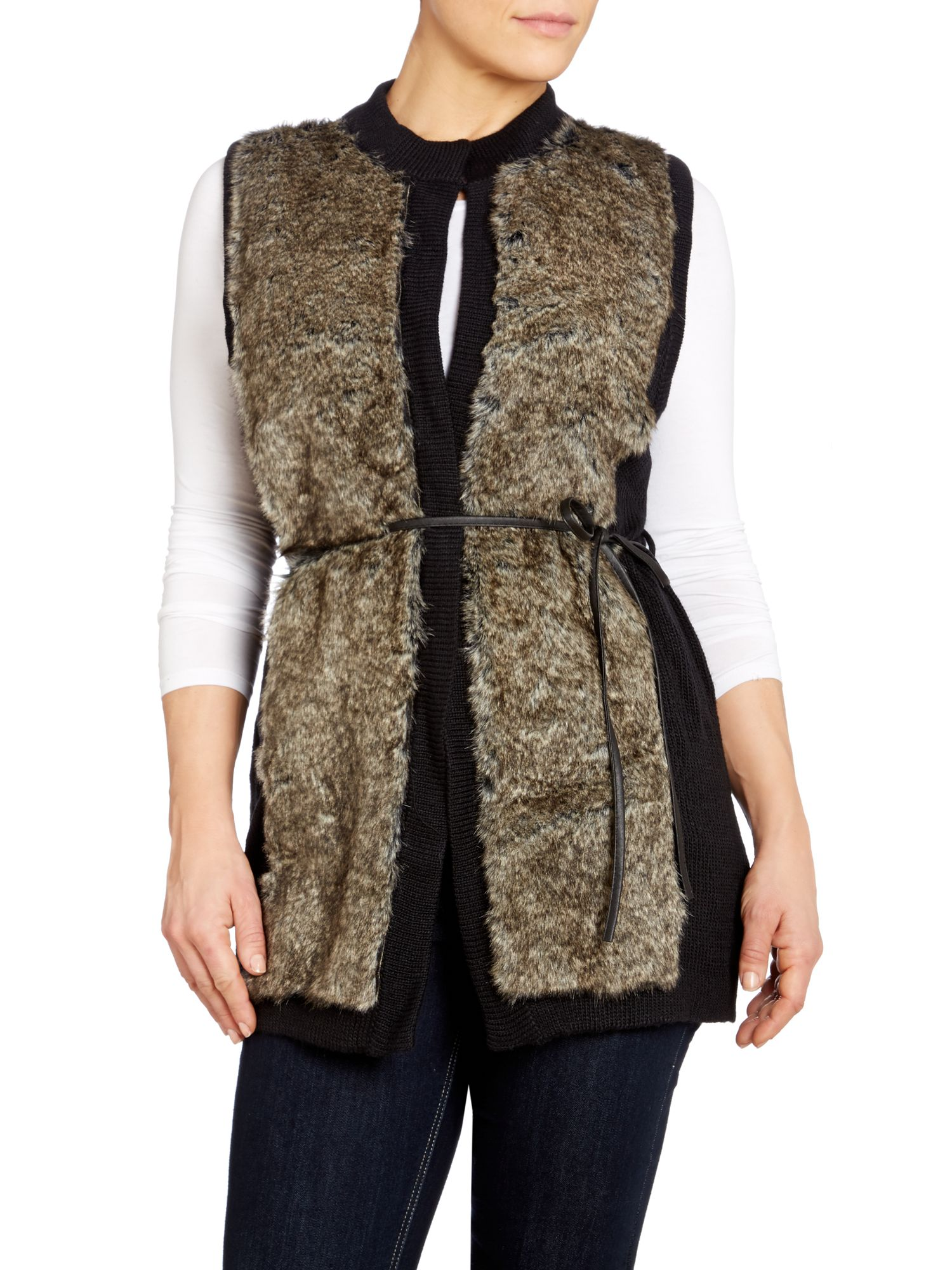 Faux fur panel vest with belt