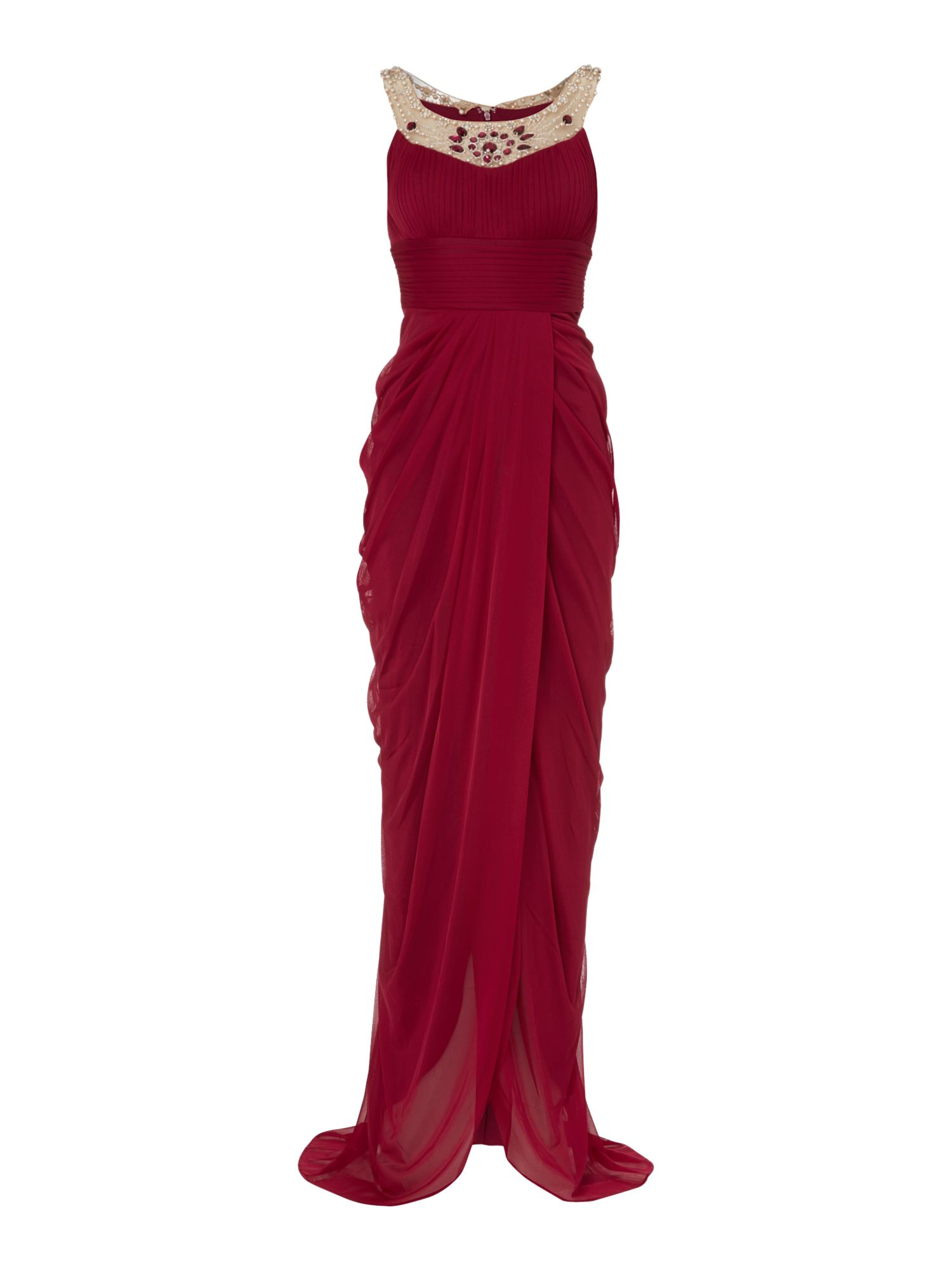 Embelished neck full length gown