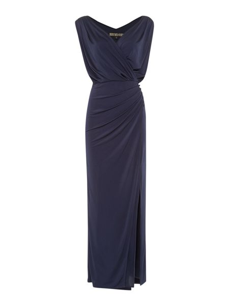 Biba Wrap over button detail maxi dress