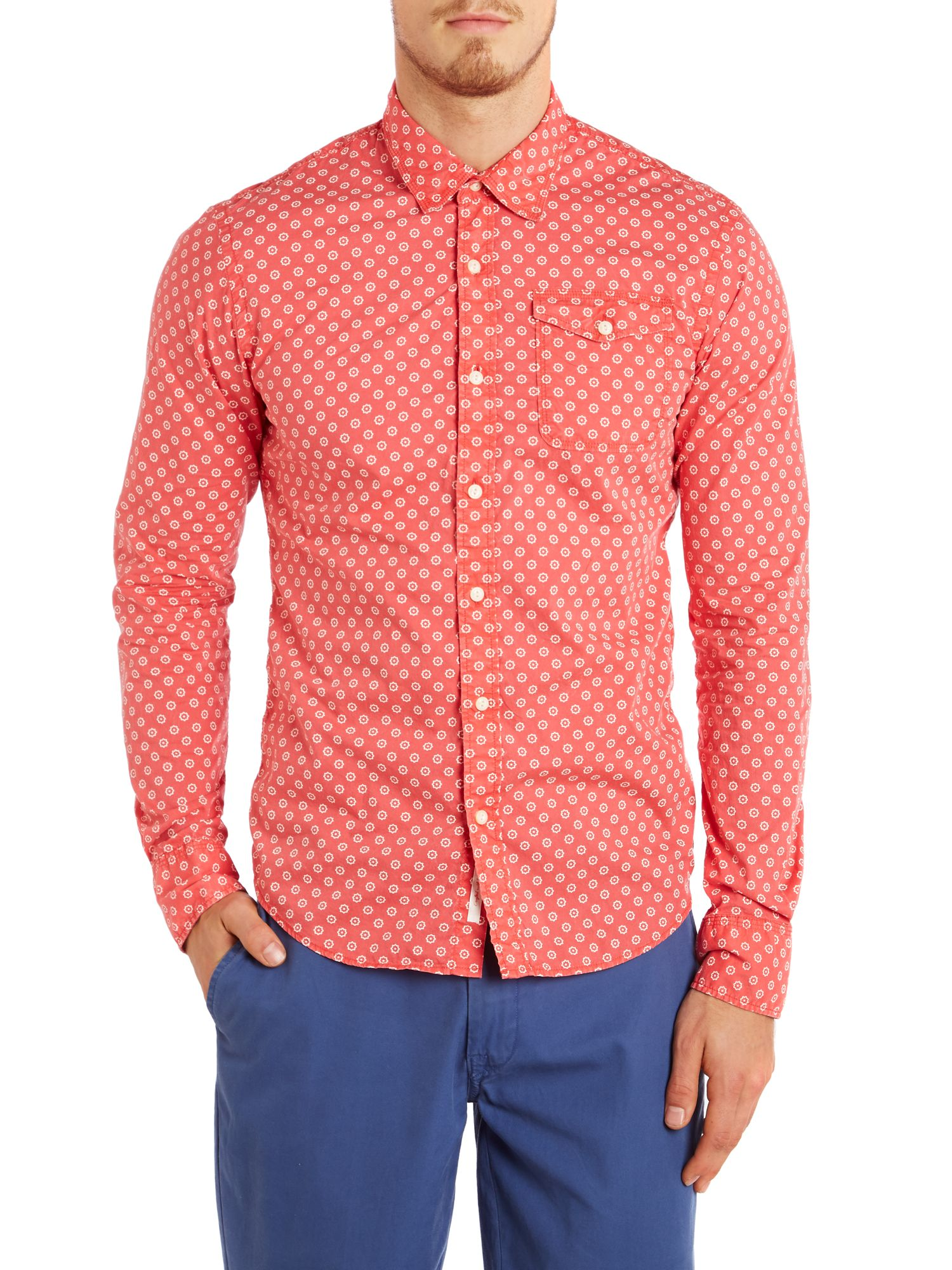 Washed all-over batik printed shirt