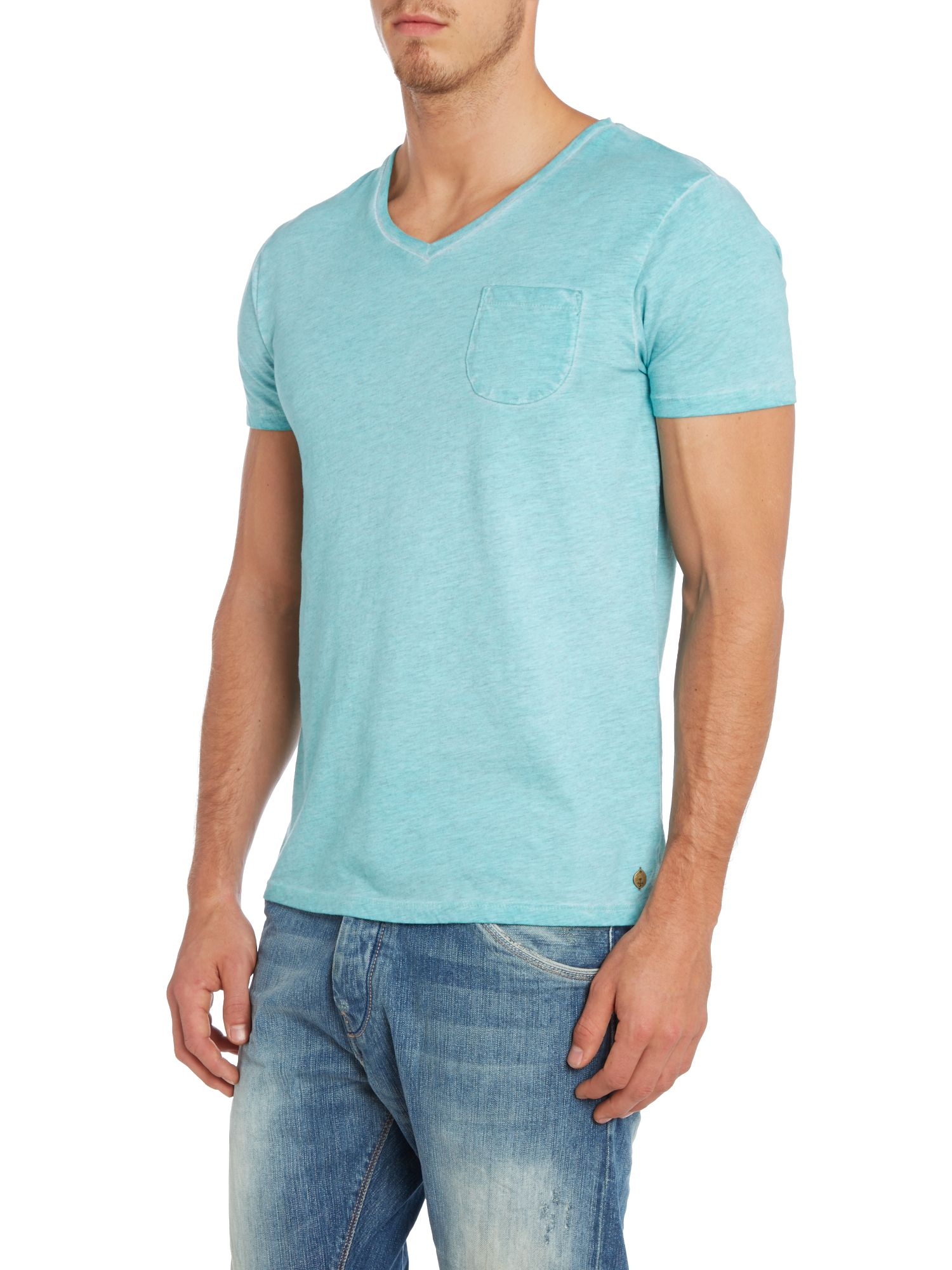 Oil washed v-neck pocket tee