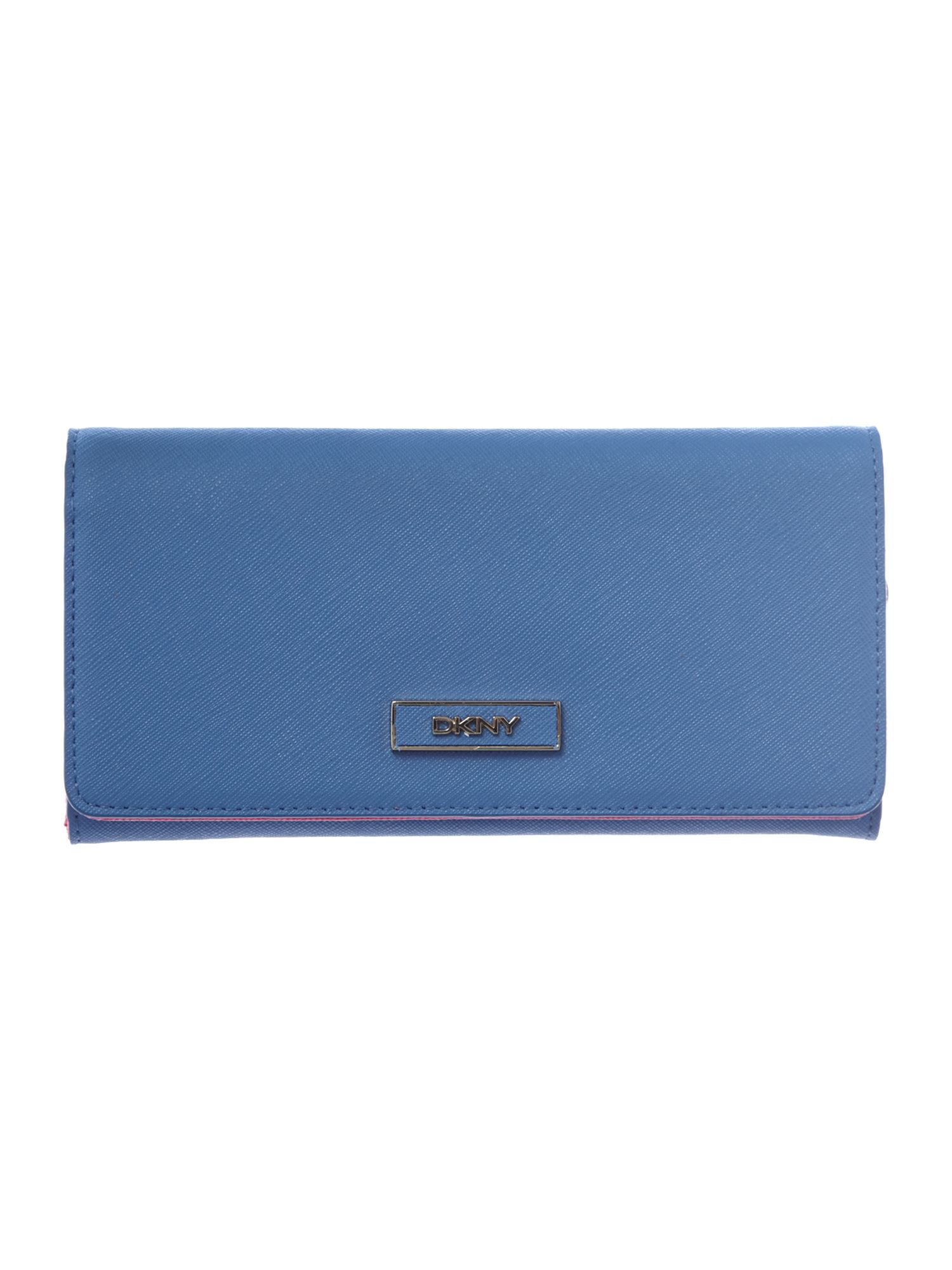 Saffiano blue large flap over purse