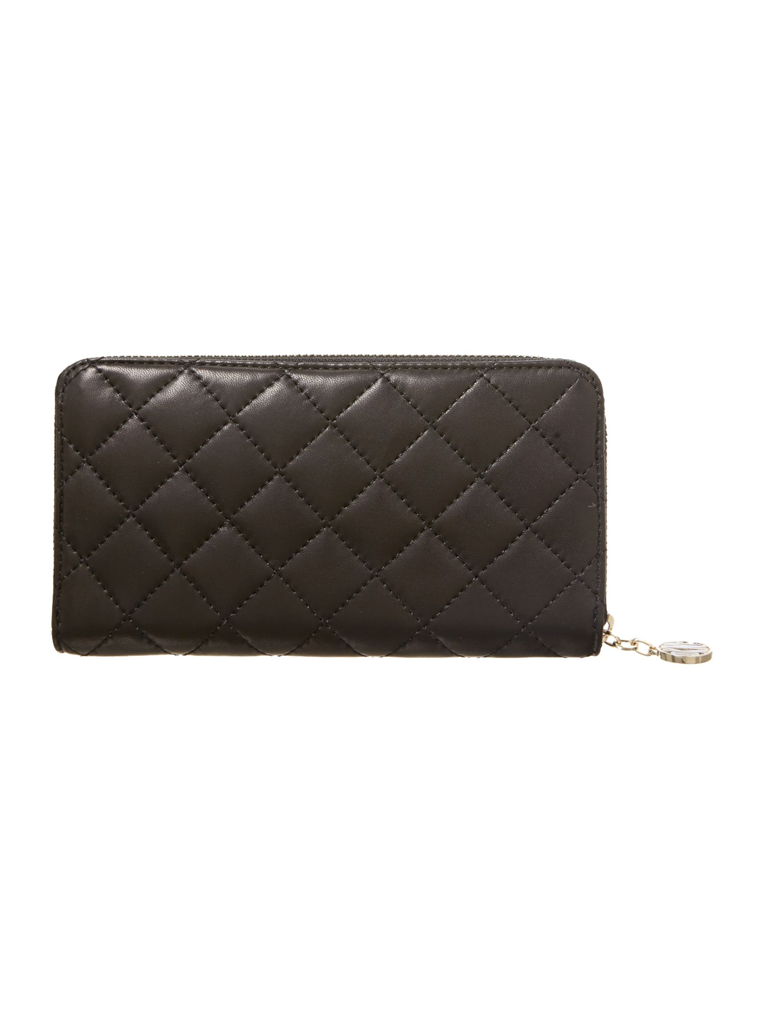 Quilted black large zip around purse