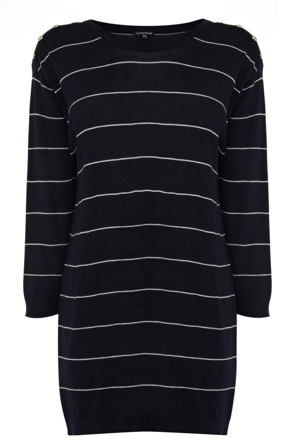 Long stripe step hem jumper
