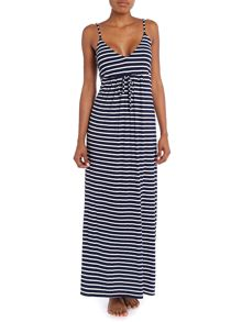 Stripe jersey maxi beach dress
