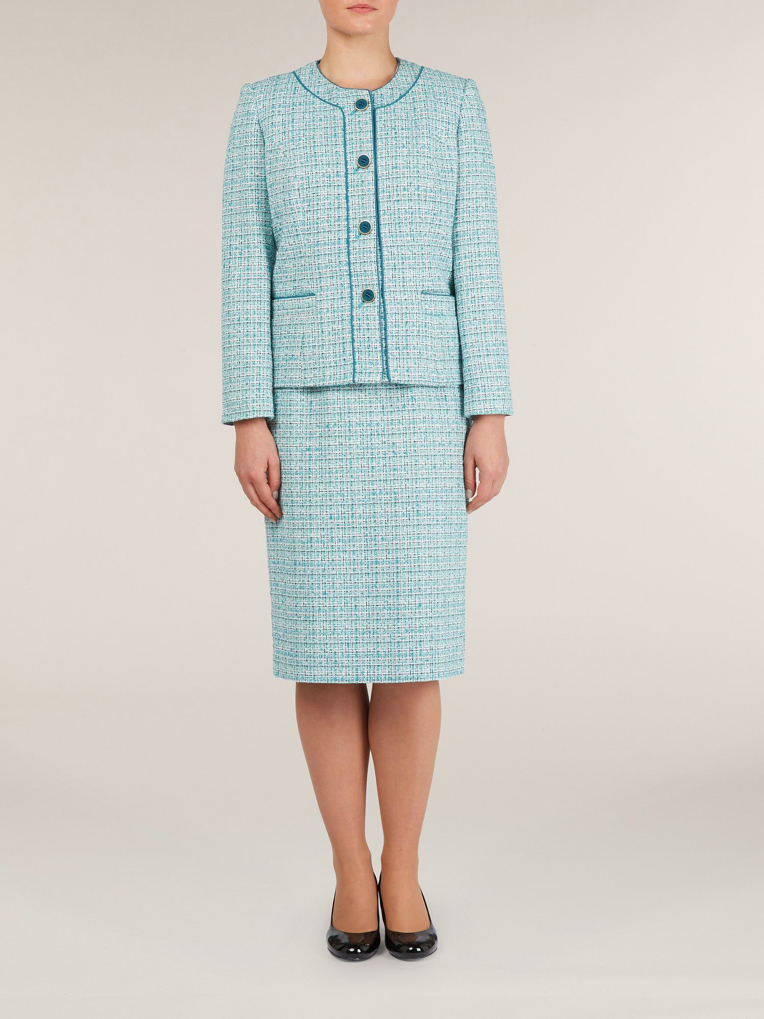 Turquoise Tweed Skirt