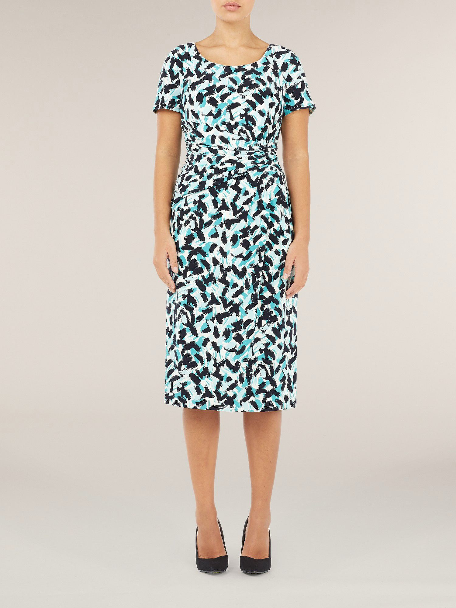 Brush Stroke Print Jersey Dress