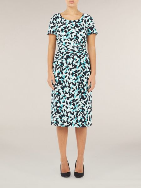Precis Petite Brush Stroke Print Jersey Dress