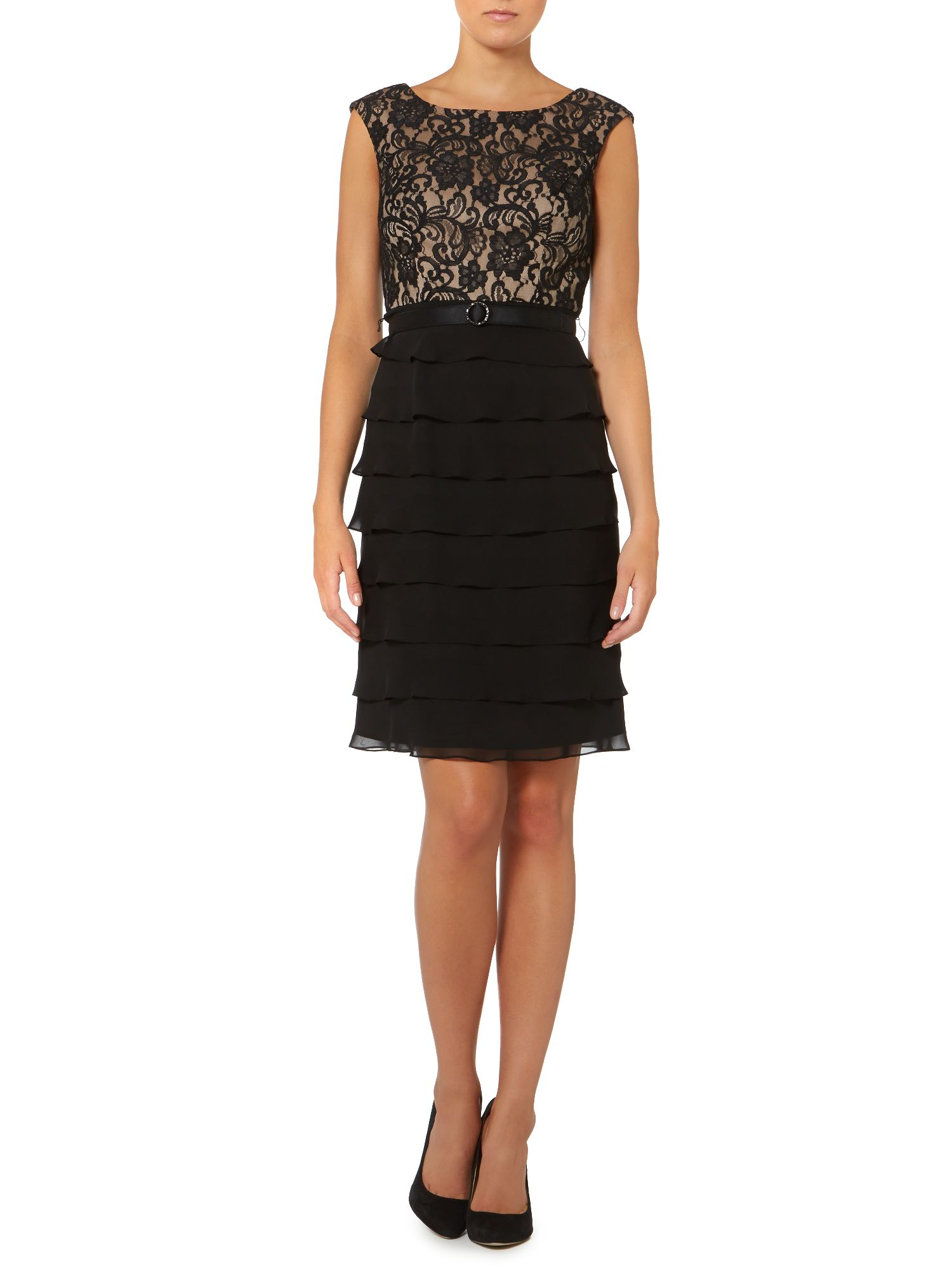 Lace Tier Belted Dress