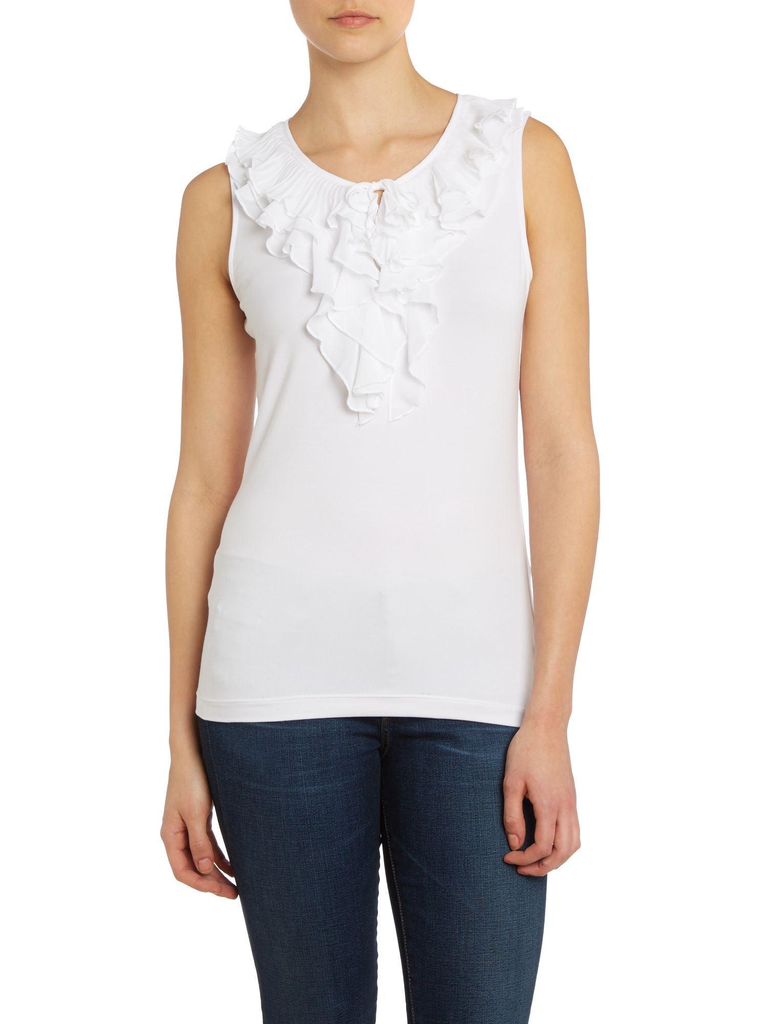 Ruffle front short sleeved top