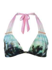 Palm print triangle bikini top