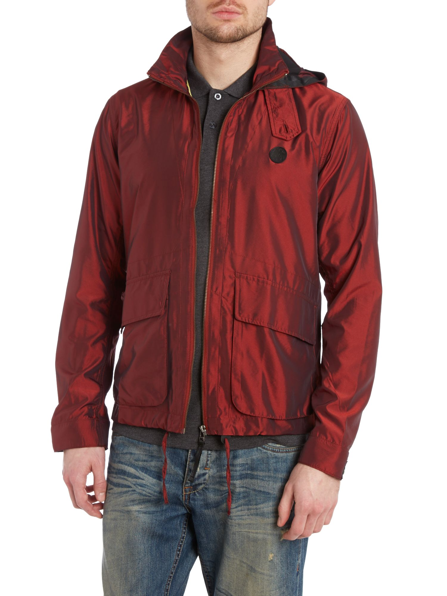 Two pocket zip up hooded poly jacket