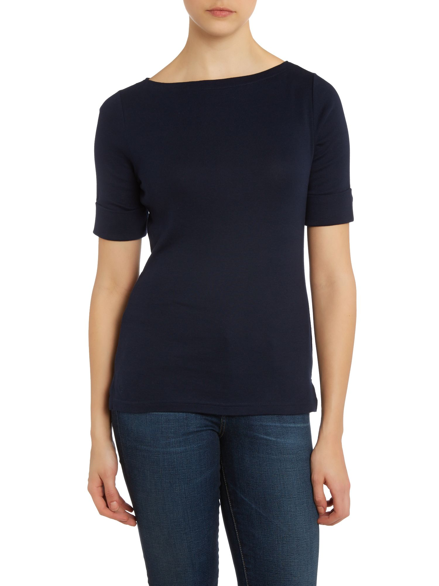 Boatneck top with hem embroidery