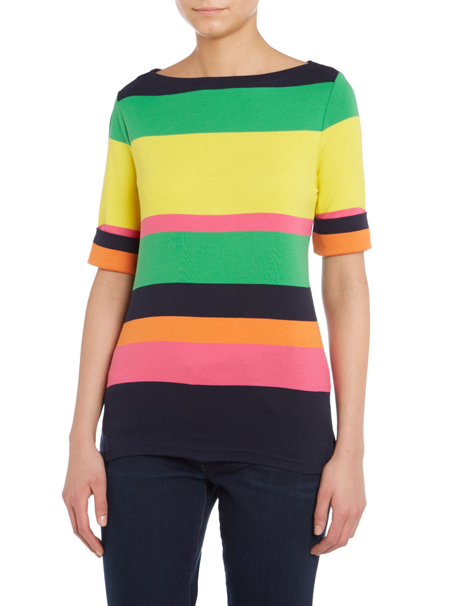Boatneck multi-striped top