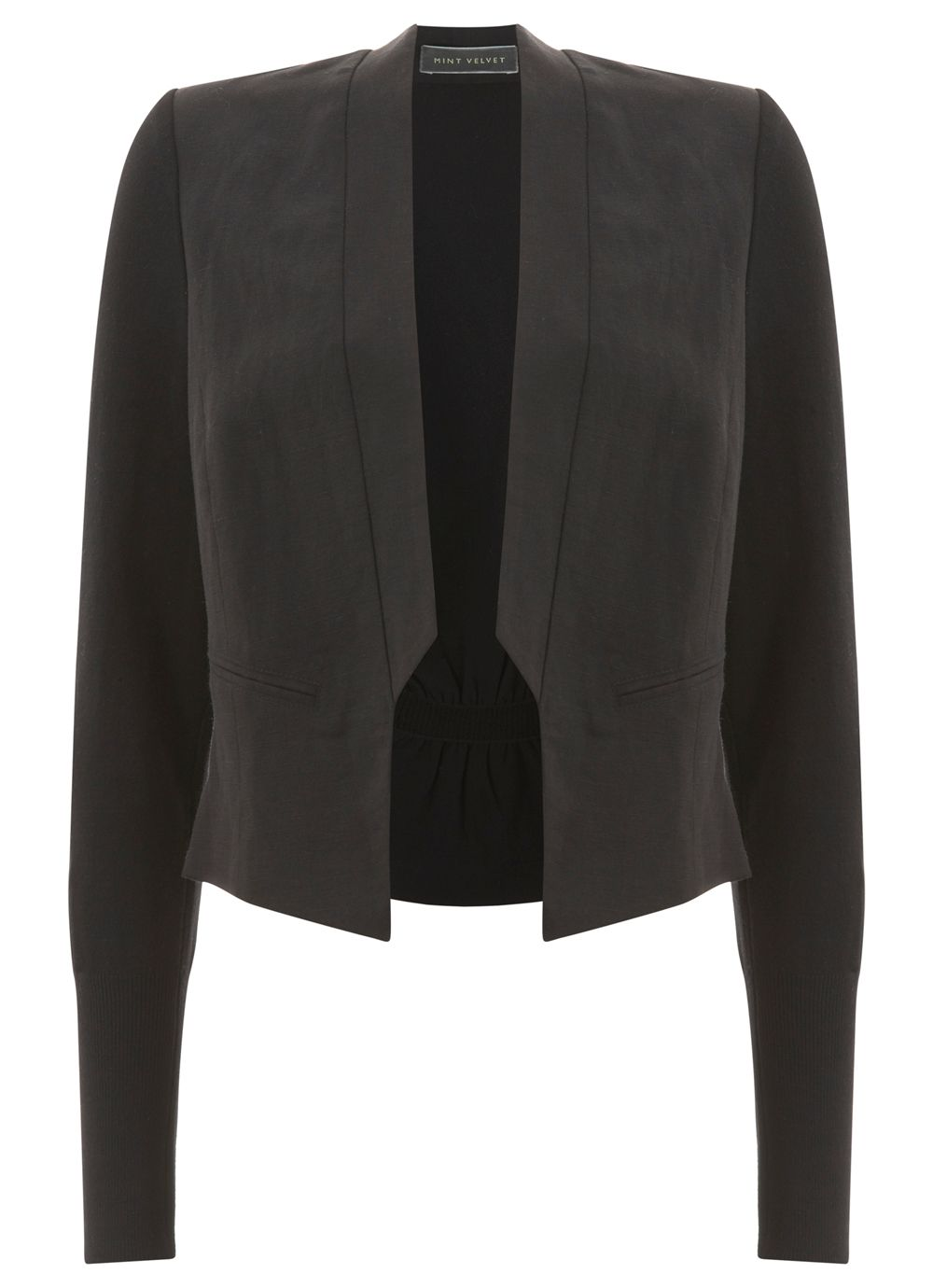 Black Cropped Tux Jacket