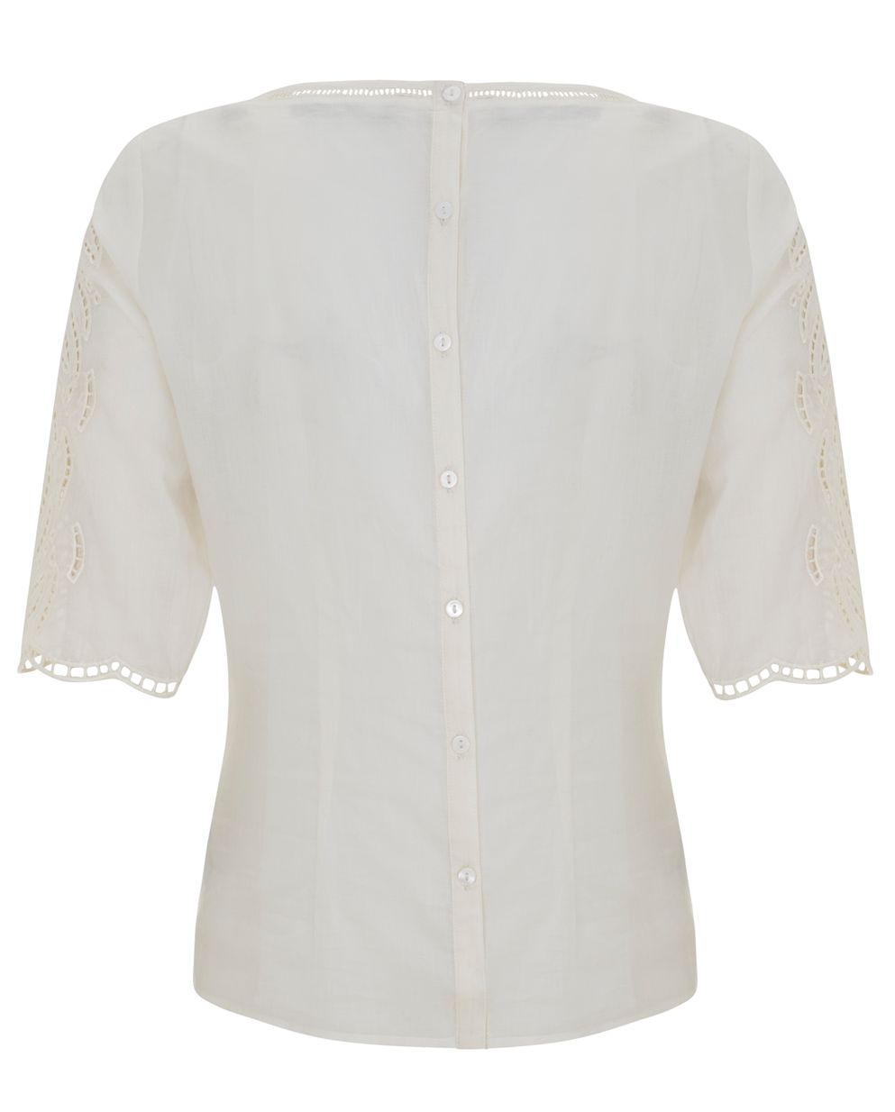 Cream Cut Out Embroidered Tee