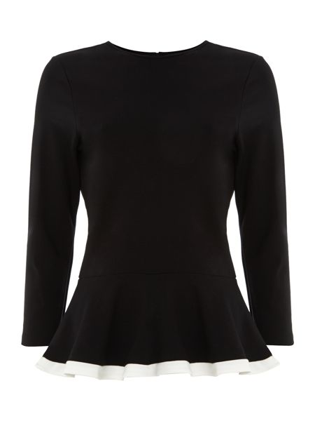 Lauren Ralph Lauren 3/4 sleeved crewneck top with peplum