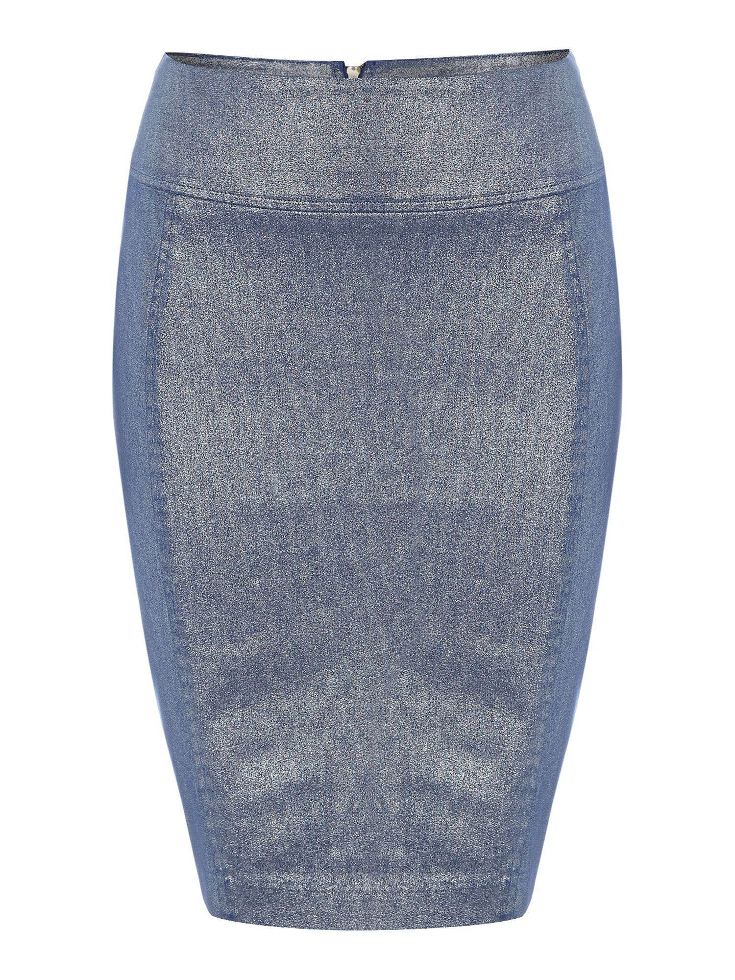 Coated denim pencil skirt with zip up back detail