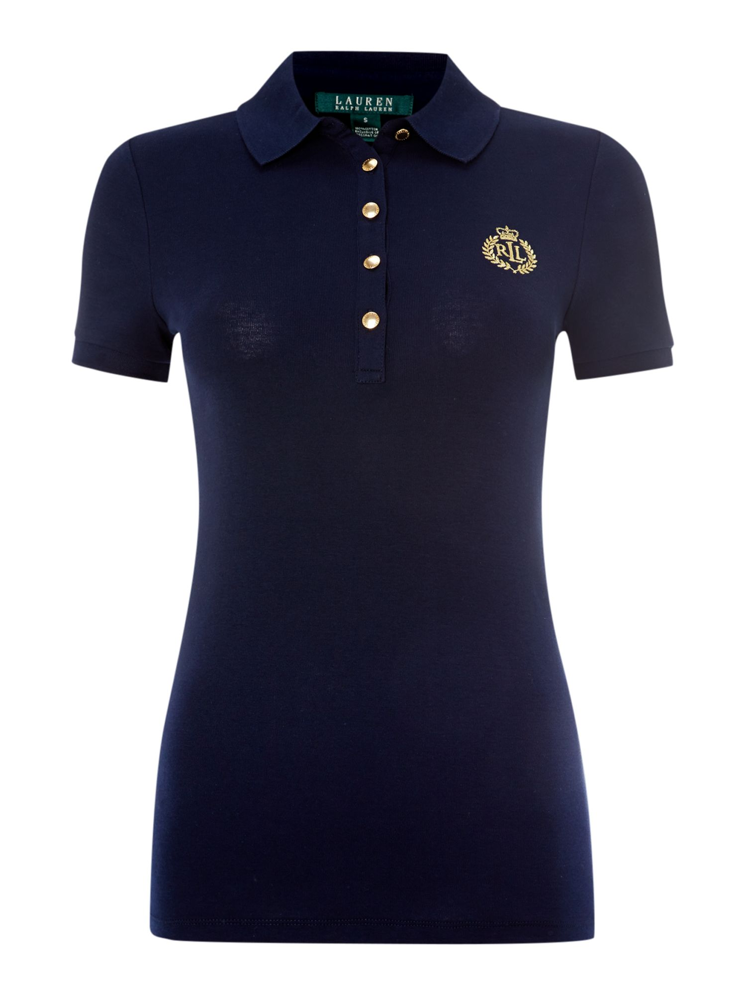 Short sleeved polo top with crest