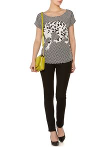 Sam printed woven front jersey back tee