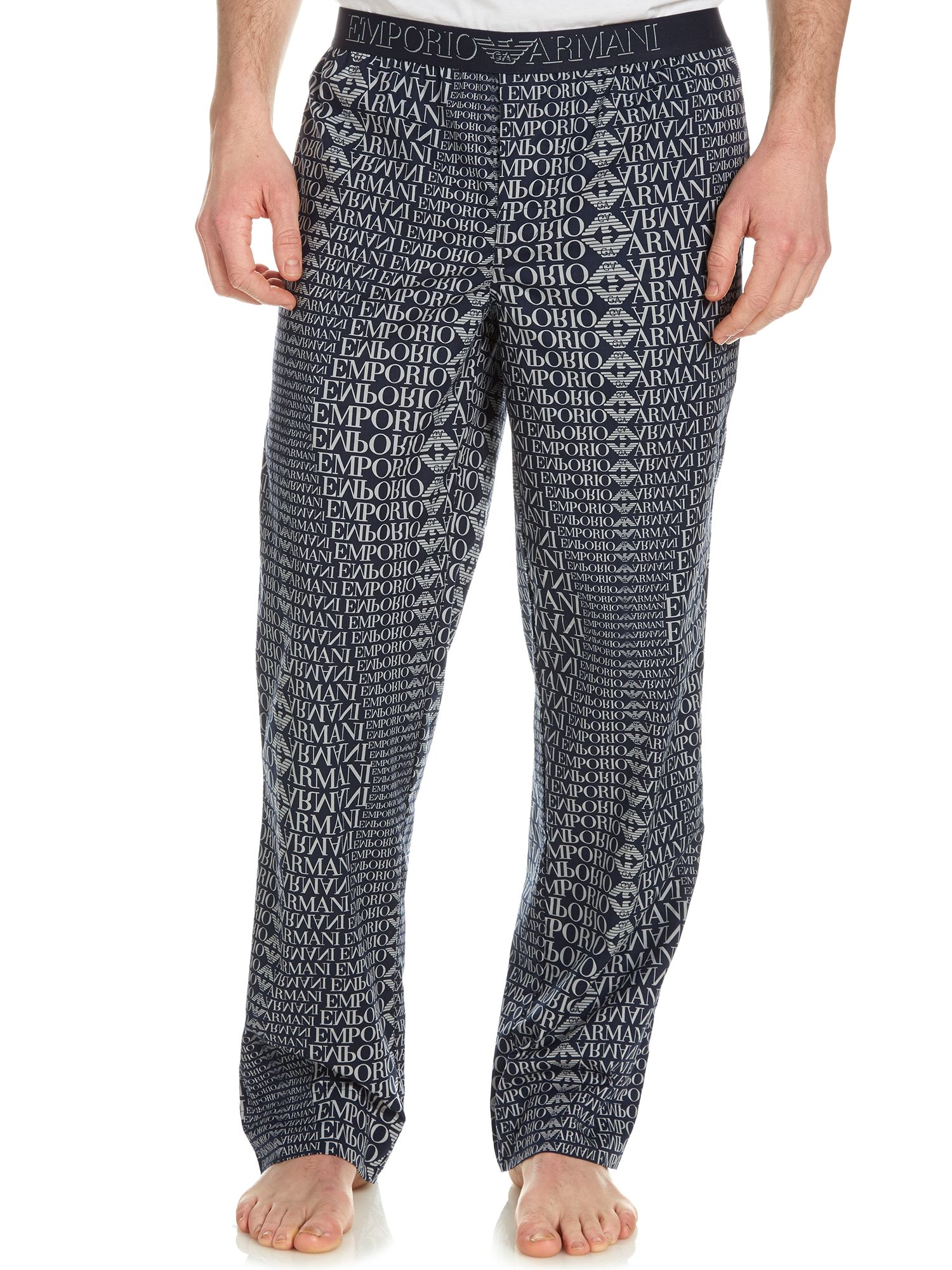 Woven all over print logo trouser