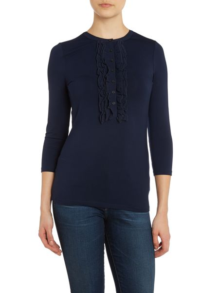 Lauren Ralph Lauren 3/4 sleeved ruffle front top