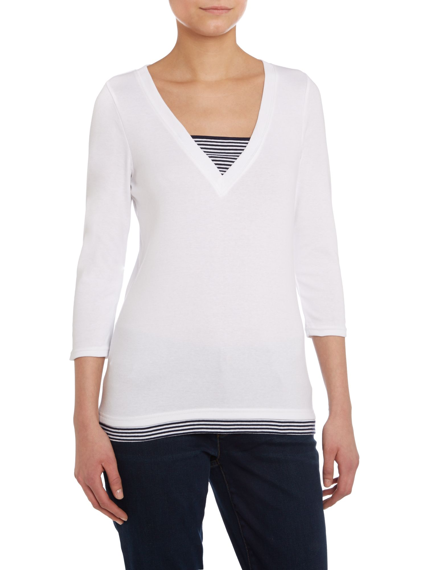 3/4 sleeved v neck with stripe insert
