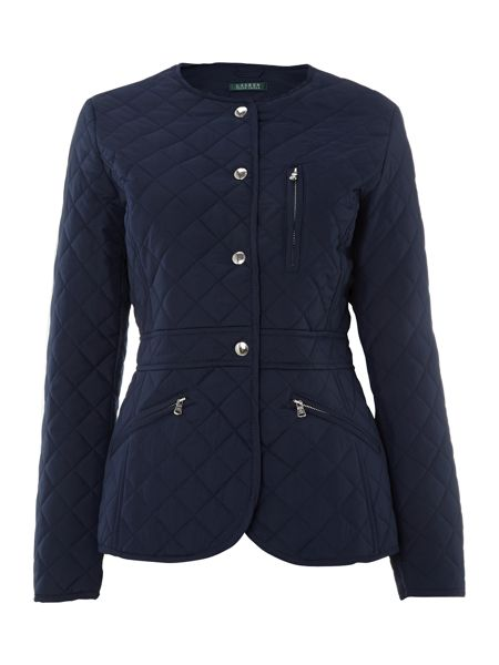 Lauren Ralph Lauren Collarless quilted peplum coat