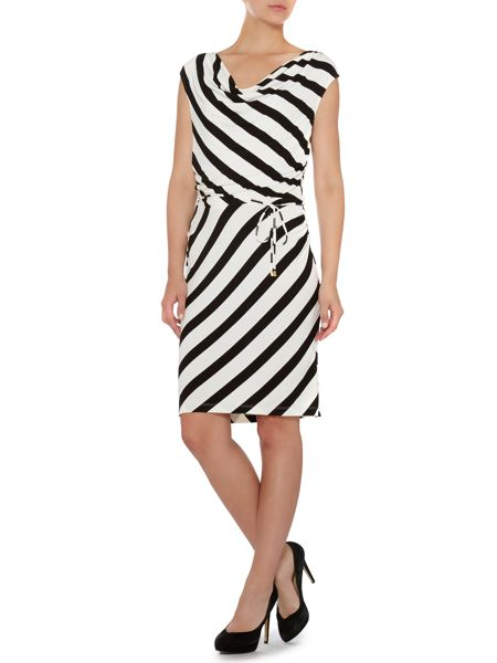 Episode stripe short dress with cap sleeves