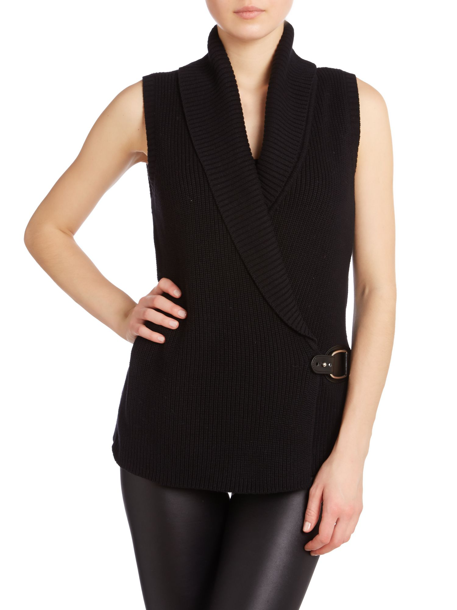 Sleeveless knitted wrap top with buckle detail