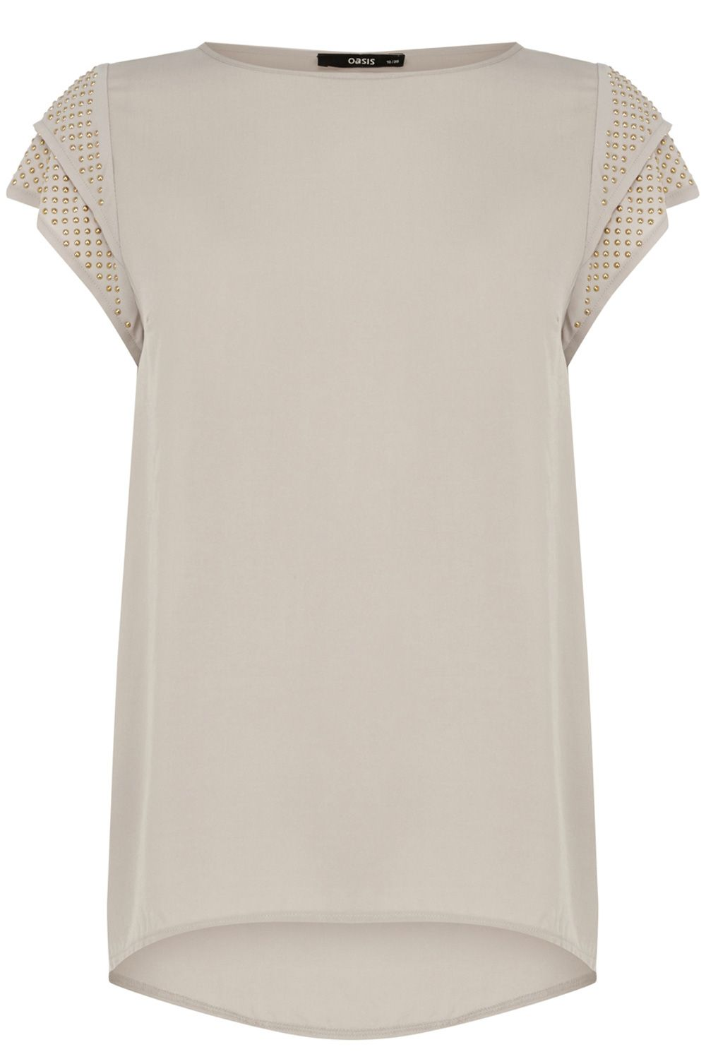 Studded viscose sleeve tee