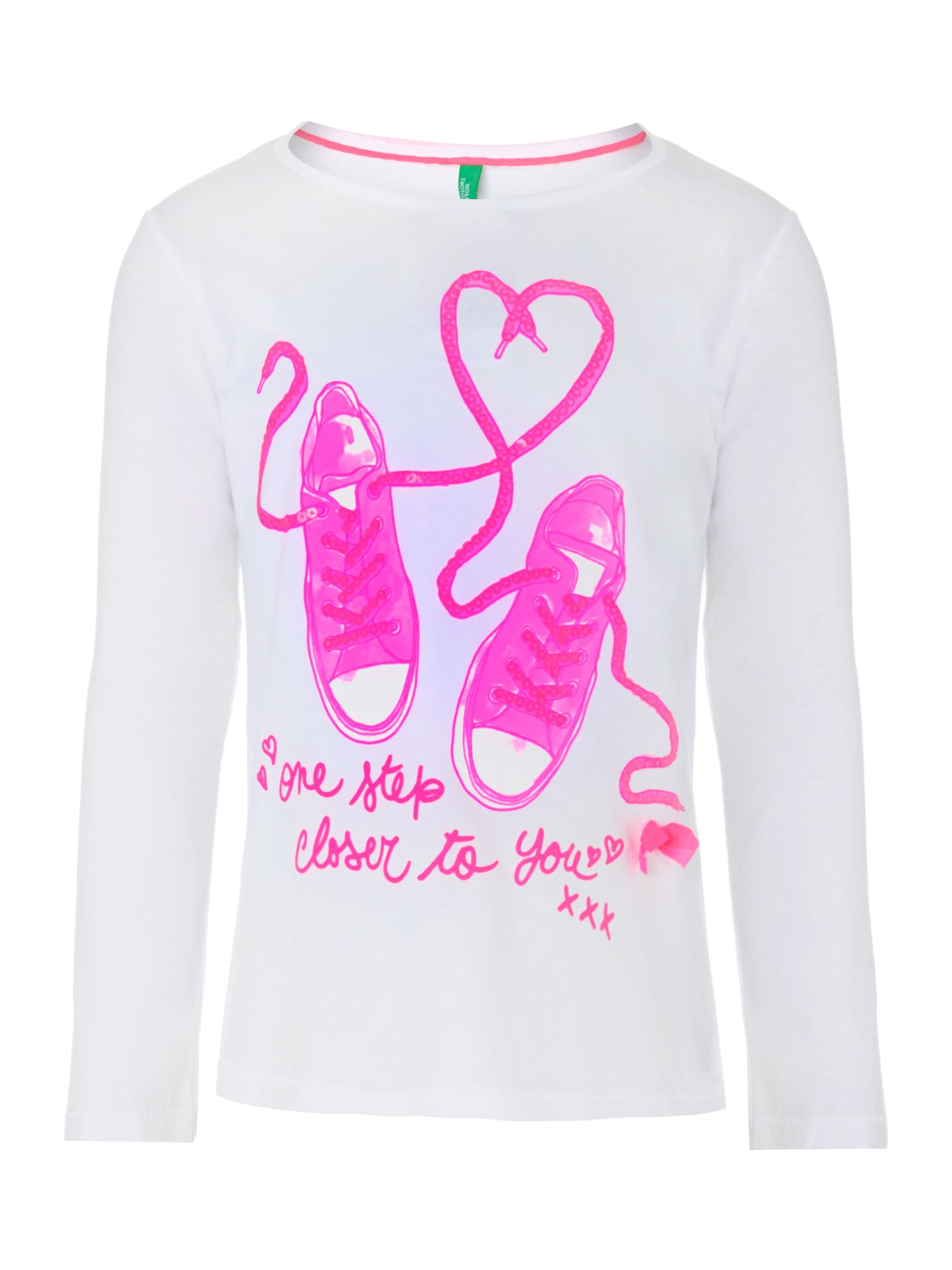 Girls trainer print sequin t-shirt