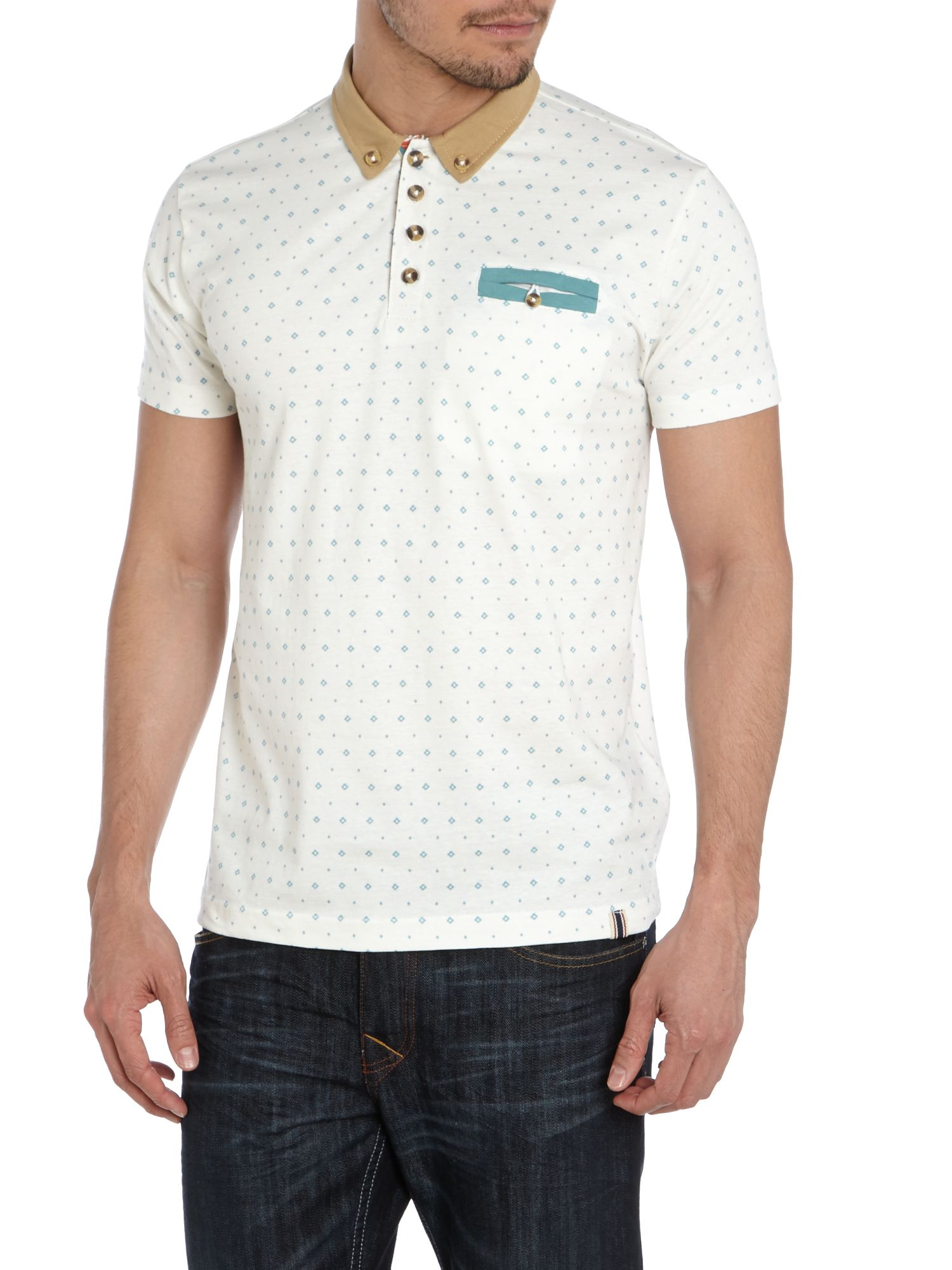 Diamond print polo with contrast collar