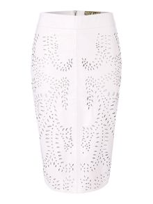 Laser cut leather pencil skirt