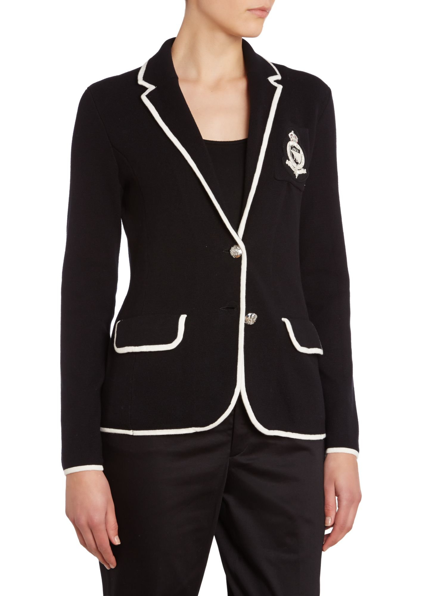 Knitted blazer with contrast trim