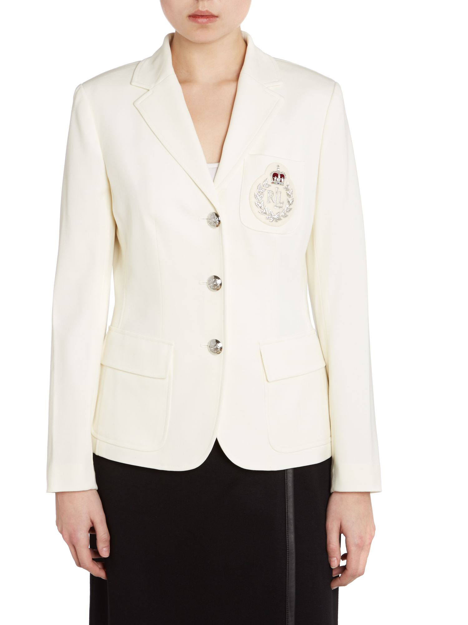 Long sleeved blazer with crest pocket detail