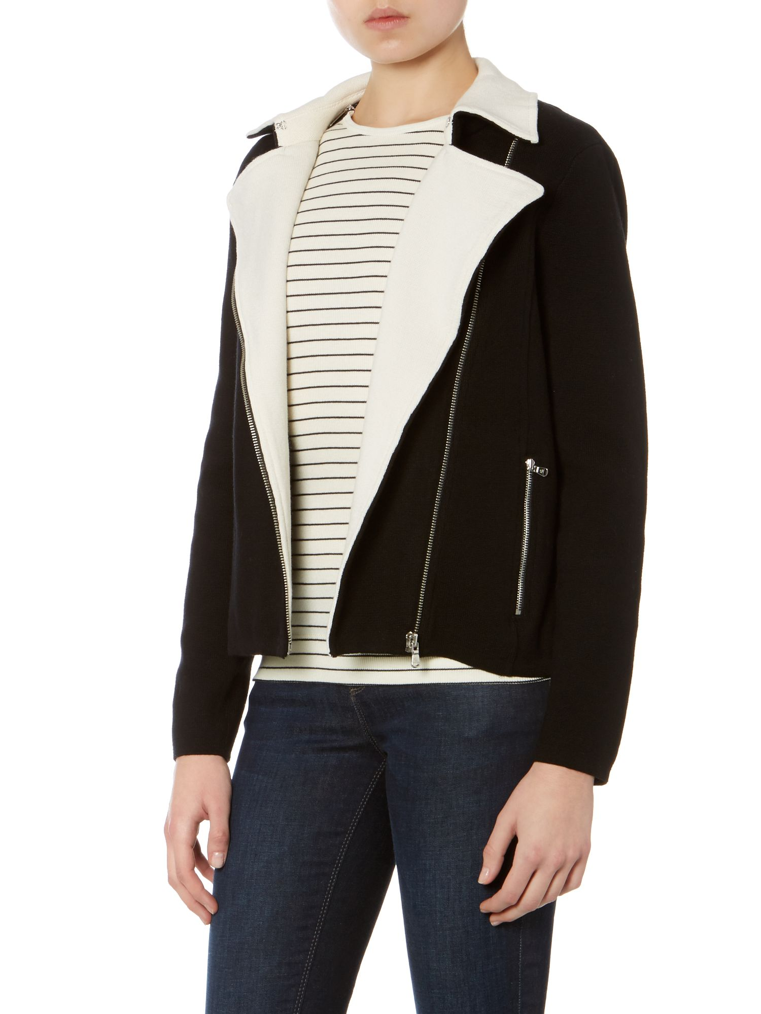 Long sleeved knitted moto jacket