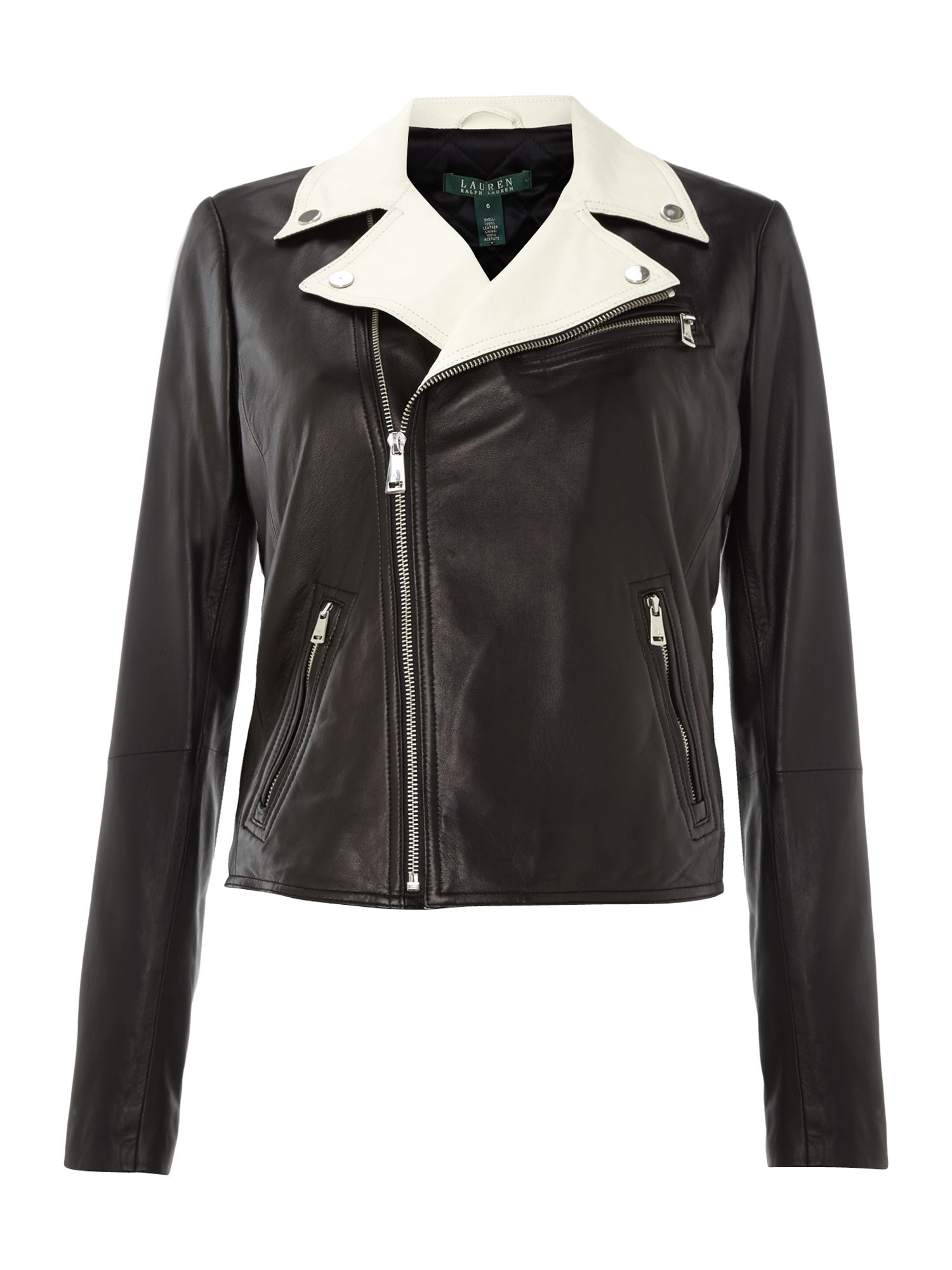 Lauren by Ralph Lauren Leather jacket with contrast collar, Black