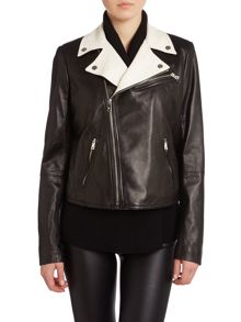 Leather jacket with contrast collar