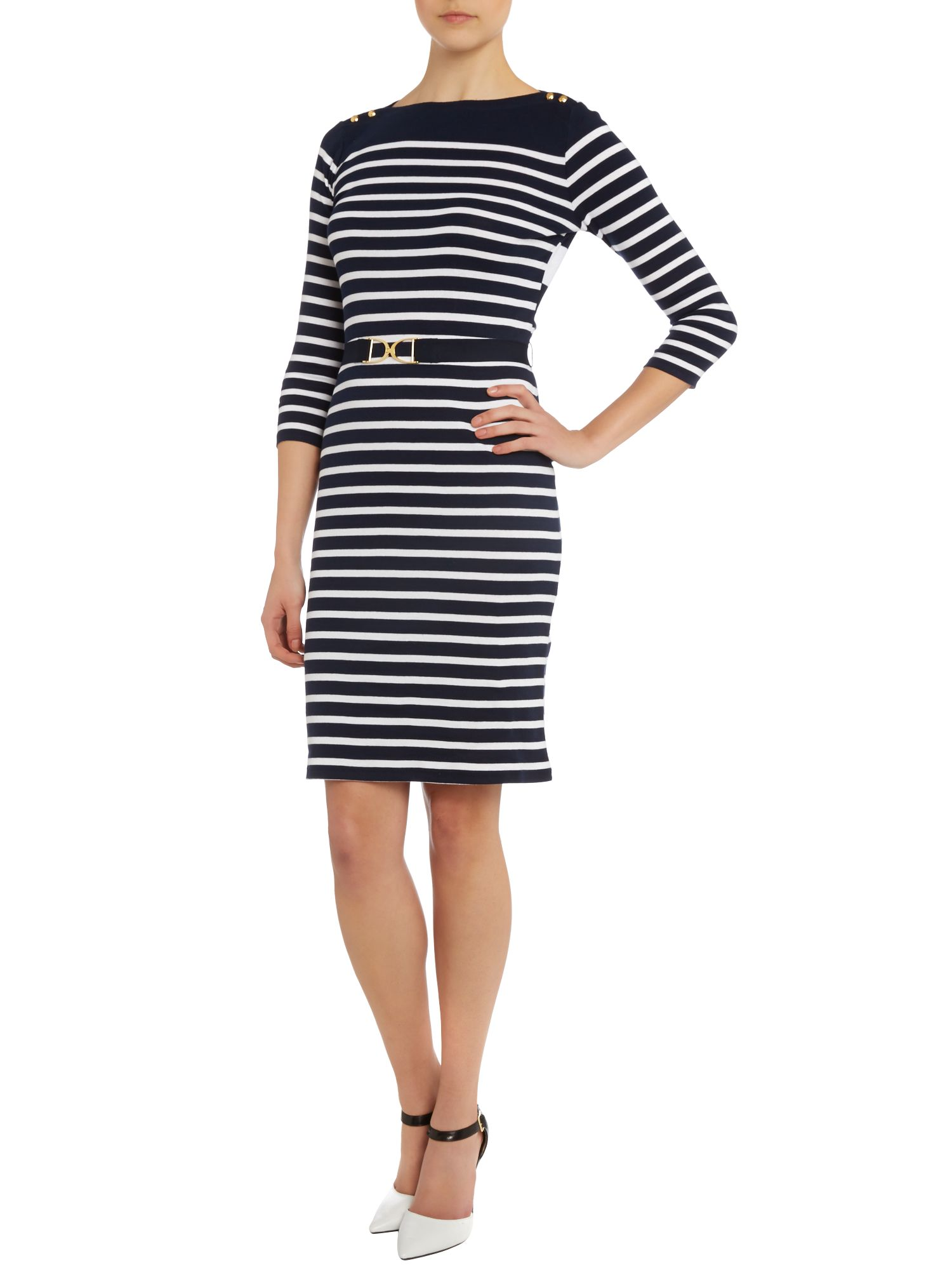 Striped belted dress with button detail