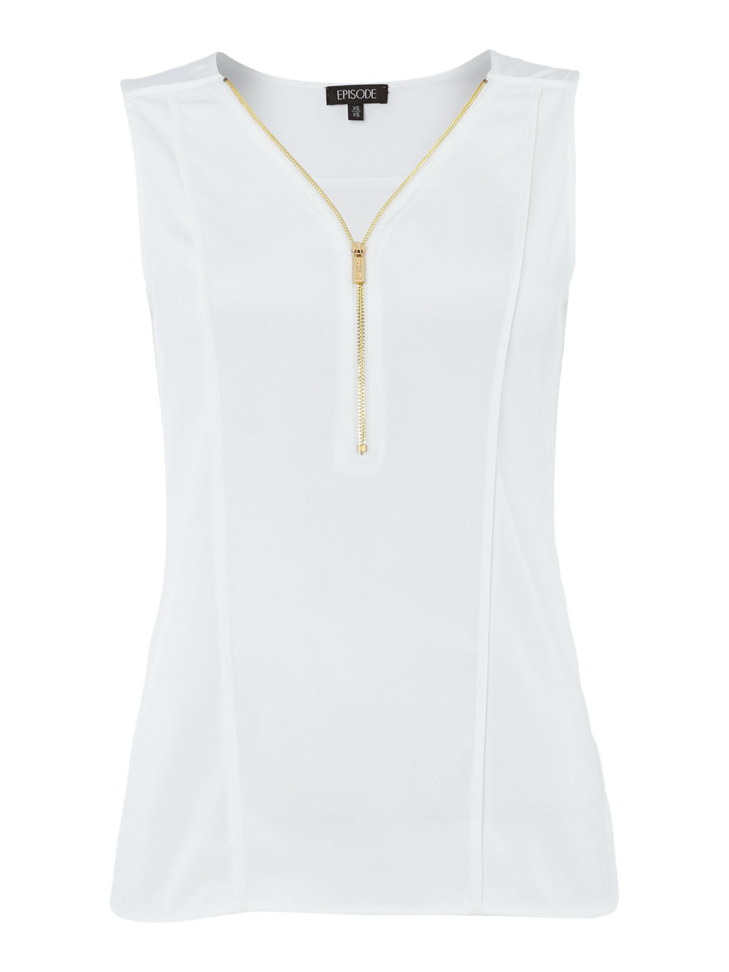 Sleeveless zip front top