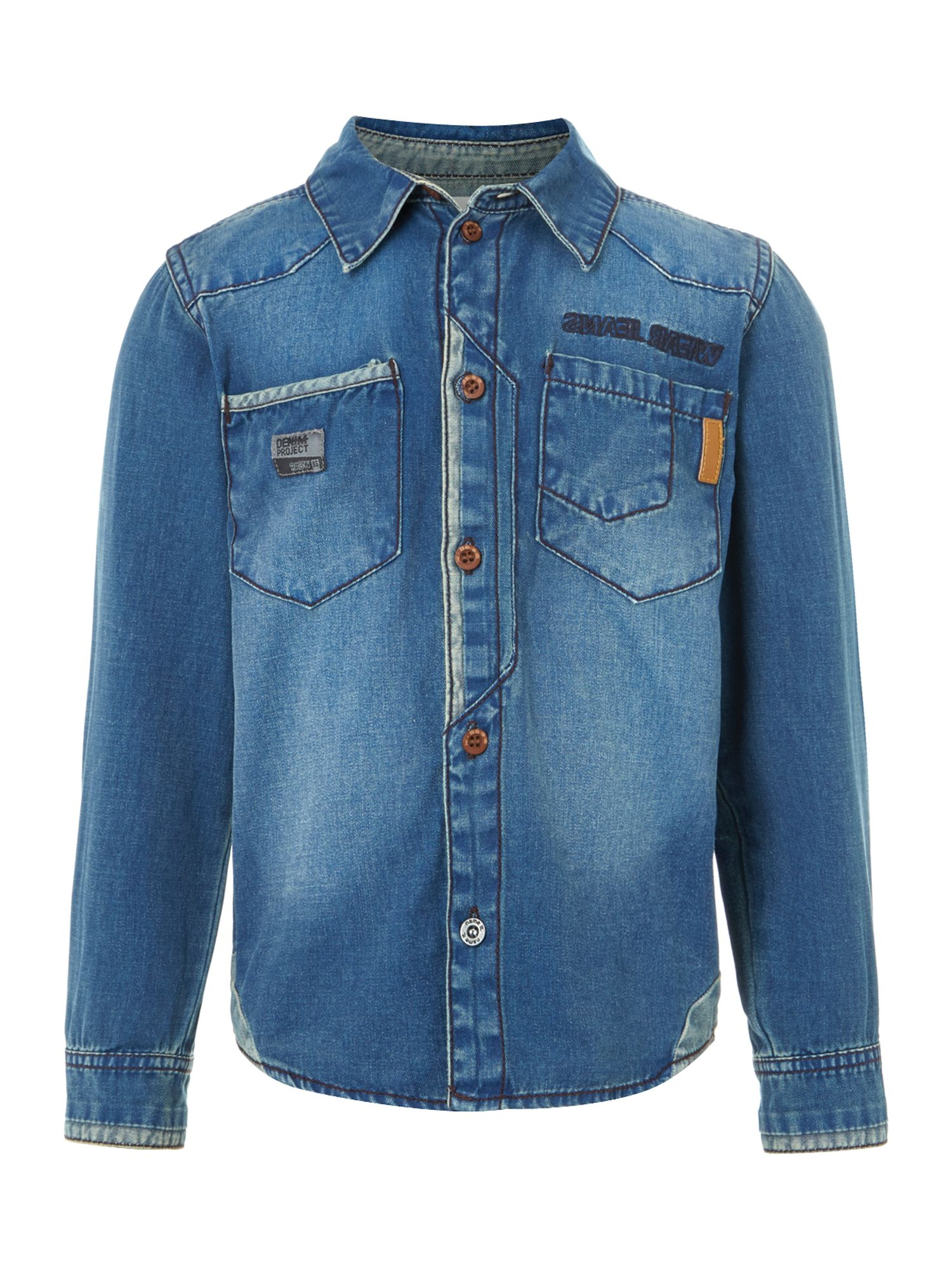 Boys contrast patch denim shirt